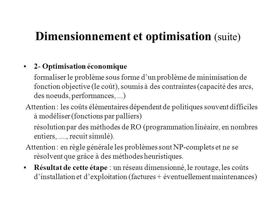Dimensionnement et optimisation (suite)
