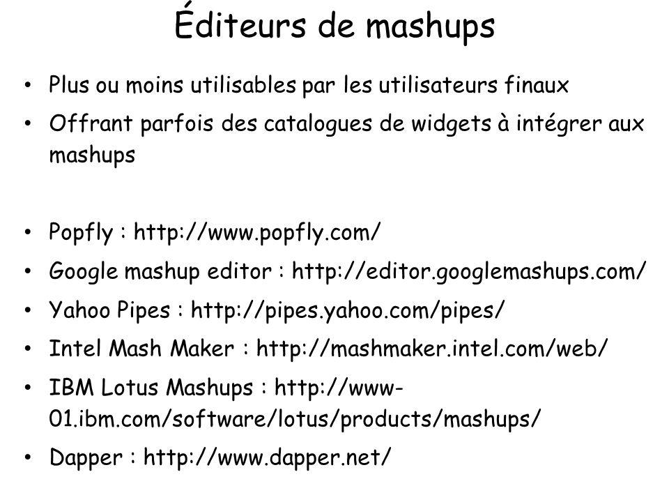 Éditeurs de mashups Plus ou moins utilisables par les utilisateurs finaux. Offrant parfois des catalogues de widgets à intégrer aux mashups.