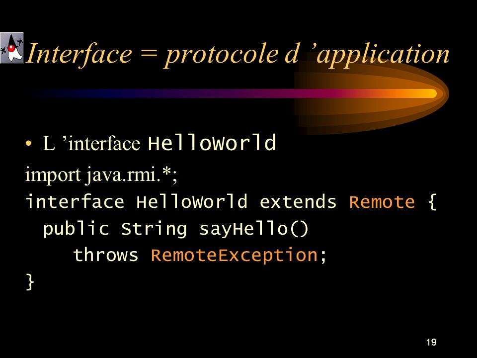Interface = protocole d 'application
