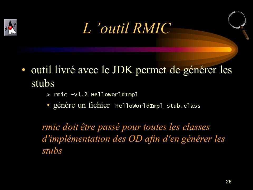 L 'outil RMIC outil livré avec le JDK permet de générer les stubs