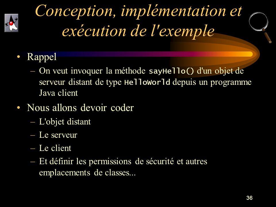 Conception, implémentation et exécution de l exemple