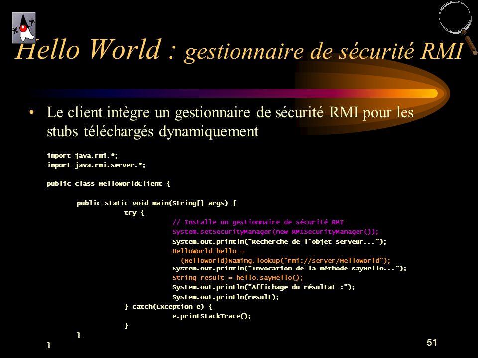 Hello World : gestionnaire de sécurité RMI