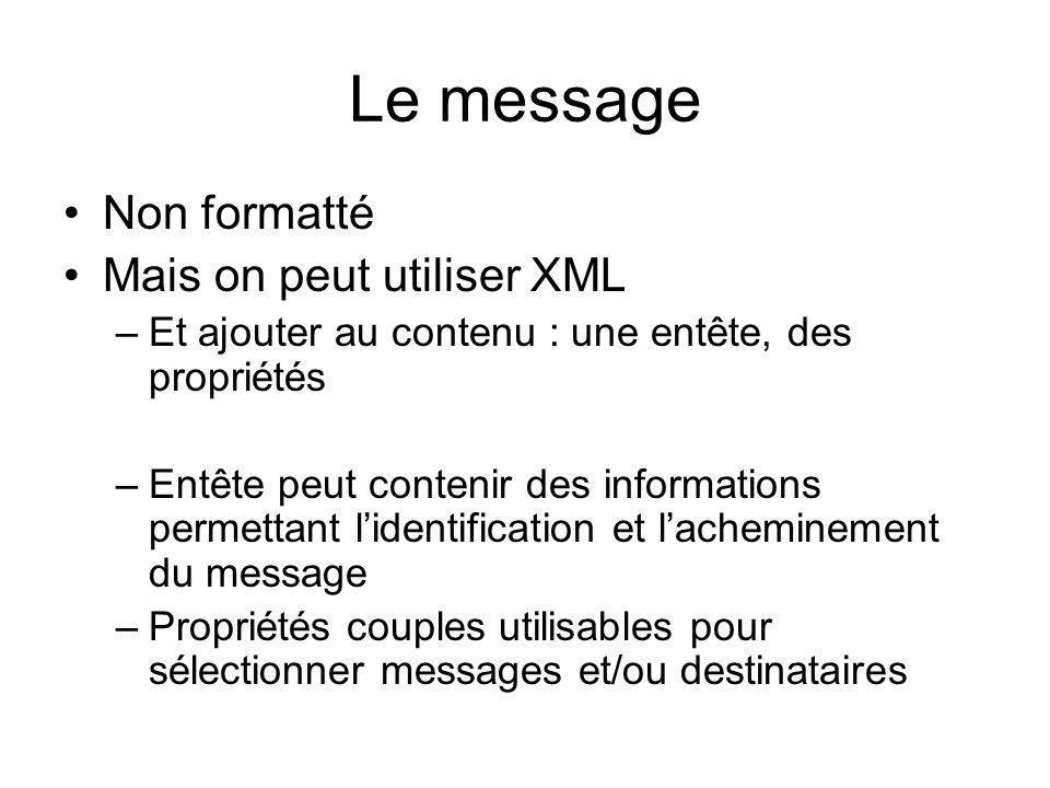 Le message Non formatté Mais on peut utiliser XML