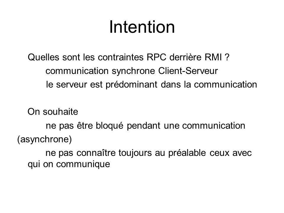 Intention Quelles sont les contraintes RPC derrière RMI