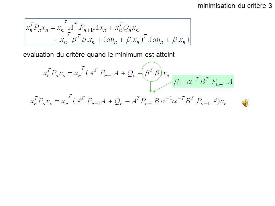minimisation du critère 3