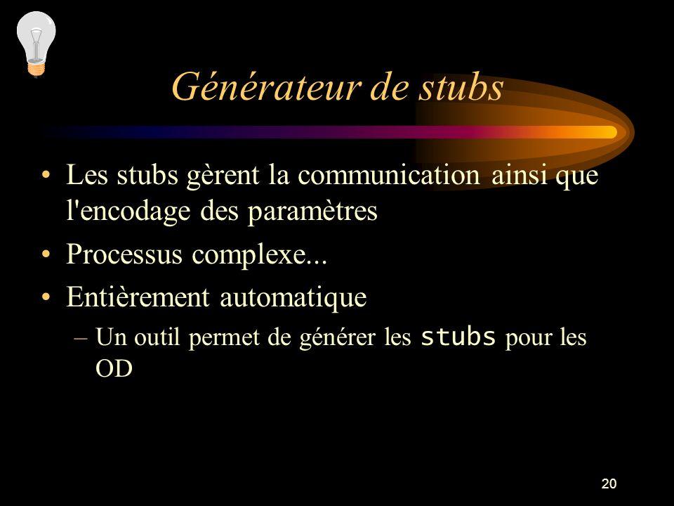 Générateur de stubs Les stubs gèrent la communication ainsi que l encodage des paramètres. Processus complexe...