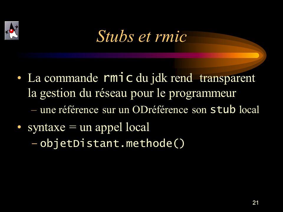 Stubs et rmicLa commande rmic du jdk rend transparent la gestion du réseau pour le programmeur. une référence sur un ODréférence son stub local.