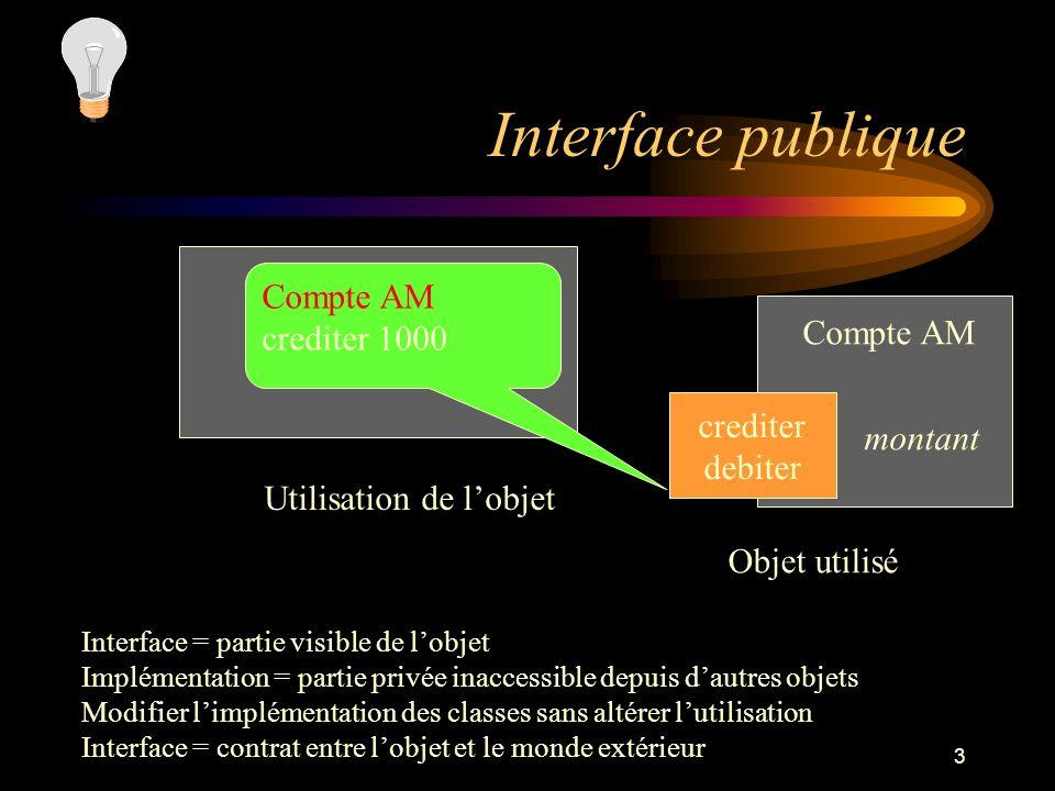 Interface publique Compte AM crediter 1000 Compte AM crediter montant