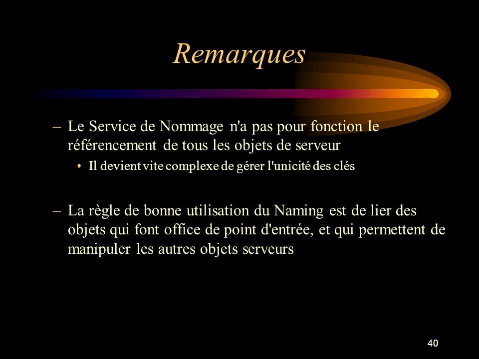 RemarquesLe Service de Nommage n a pas pour fonction le référencement de tous les objets de serveur.