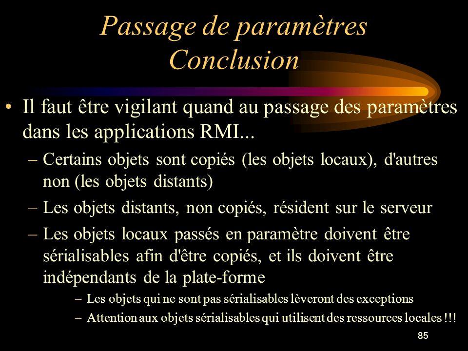 Passage de paramètres Conclusion