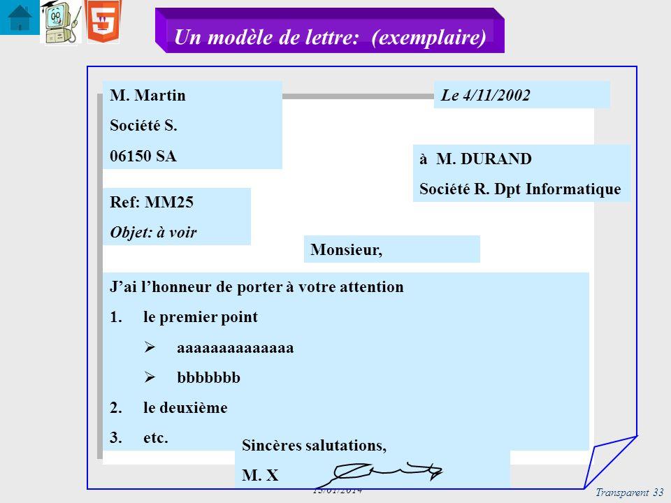 Un modèle de lettre: (exemplaire)