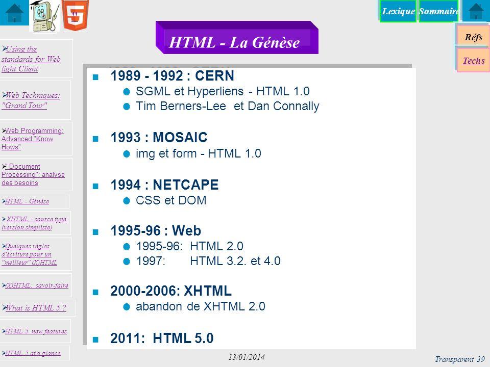 HTML - La Génèse 1989 - 1992 : CERN 1993 : MOSAIC 1994 : NETCAPE