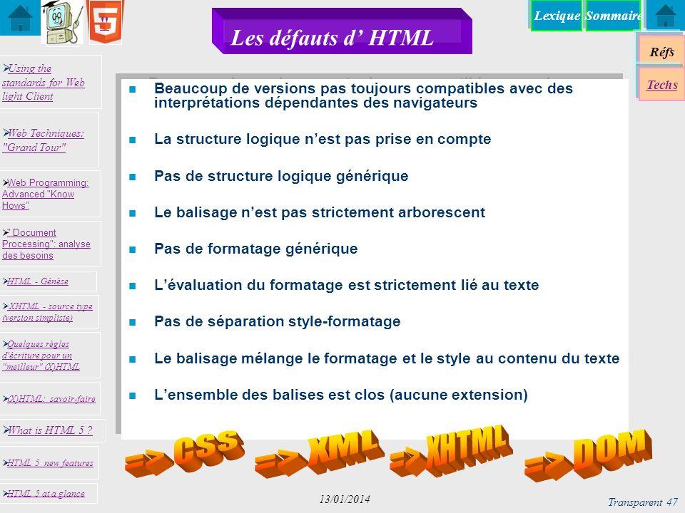 Les défauts d' HTML => XHTML => CSS => XML => DOM