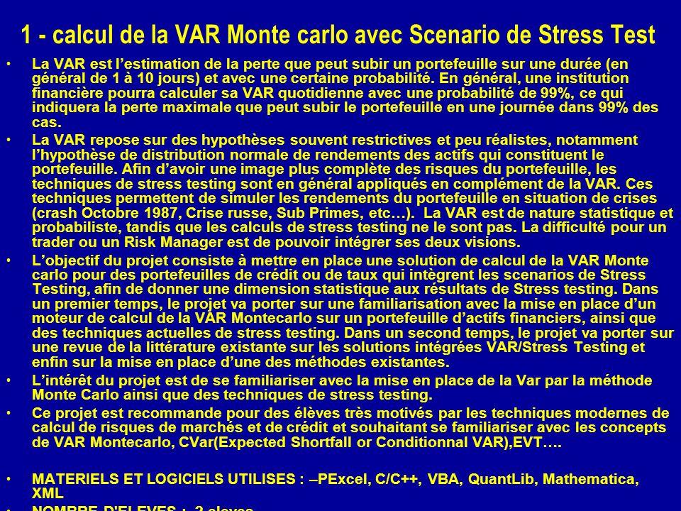 1 - calcul de la VAR Monte carlo avec Scenario de Stress Test