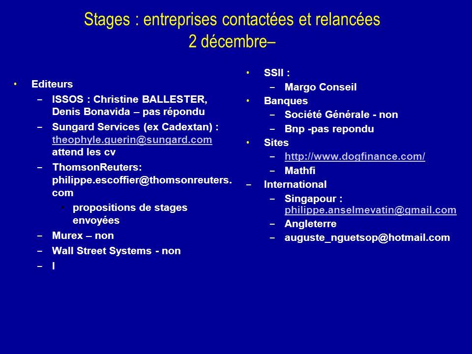 Stages : entreprises contactées et relancées 2 décembre–