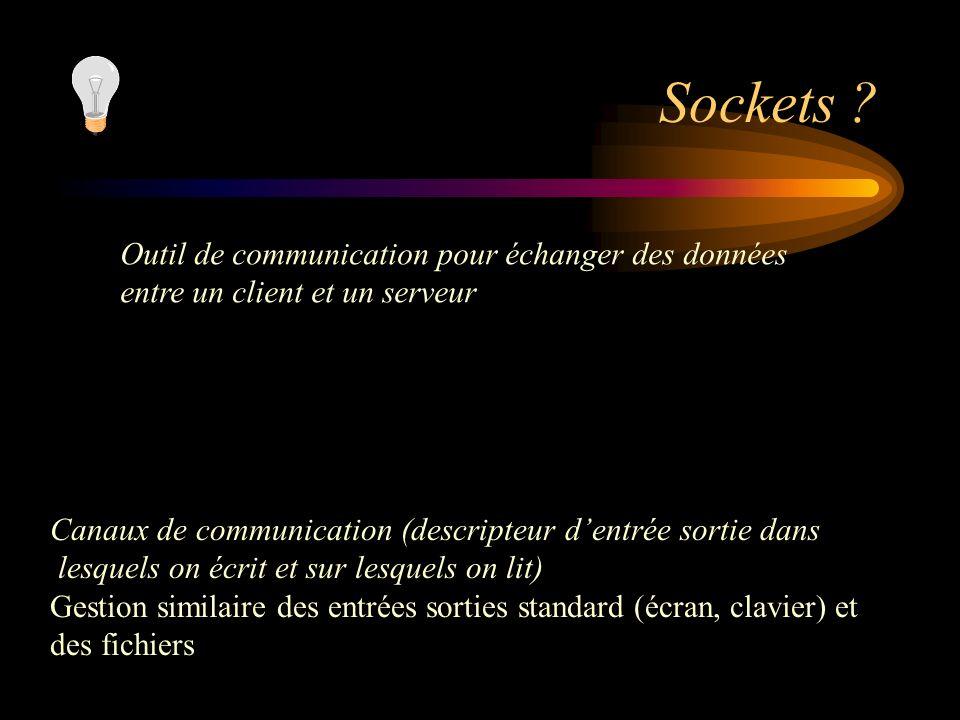 Sockets Outil de communication pour échanger des données entre un client et un serveur. Canaux de communication (descripteur d'entrée sortie dans.
