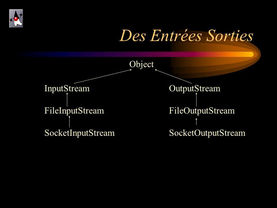 Des Entrées Sorties Object InputStream FileInputStream