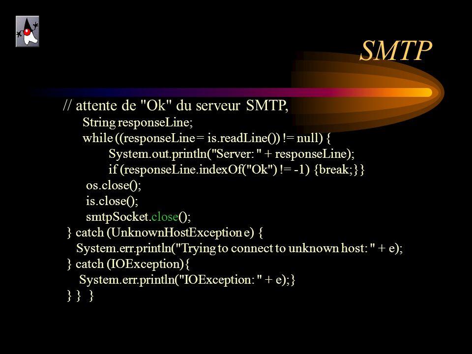SMTP // attente de Ok du serveur SMTP, . String responseLine;