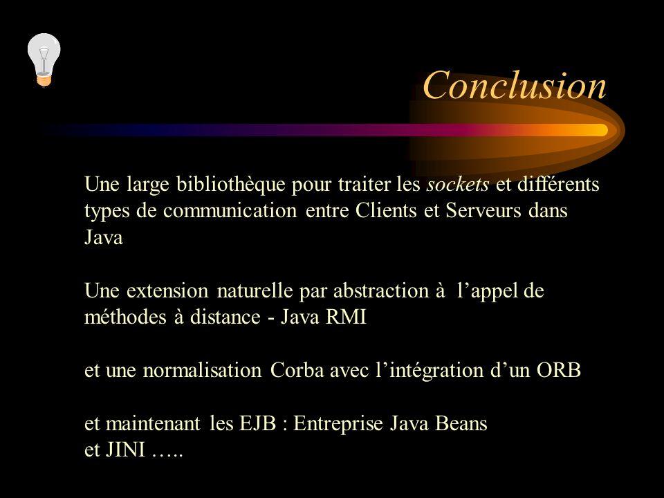 Conclusion Une large bibliothèque pour traiter les sockets et différents. types de communication entre Clients et Serveurs dans Java.