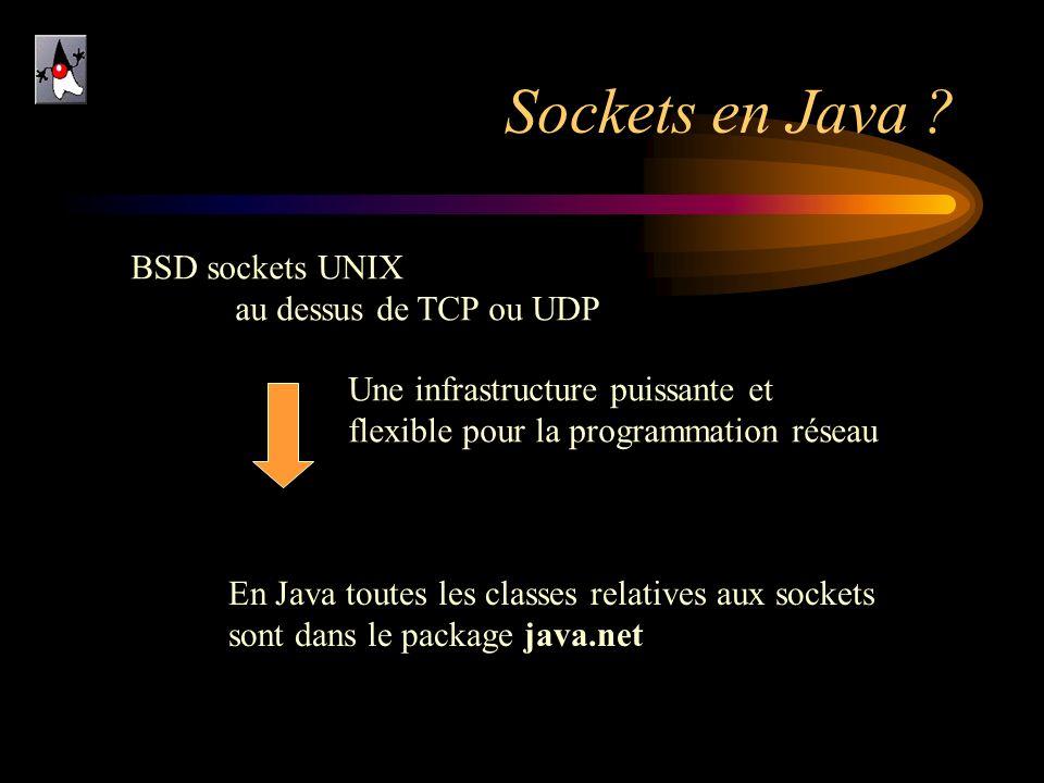 Sockets en Java BSD sockets UNIX au dessus de TCP ou UDP