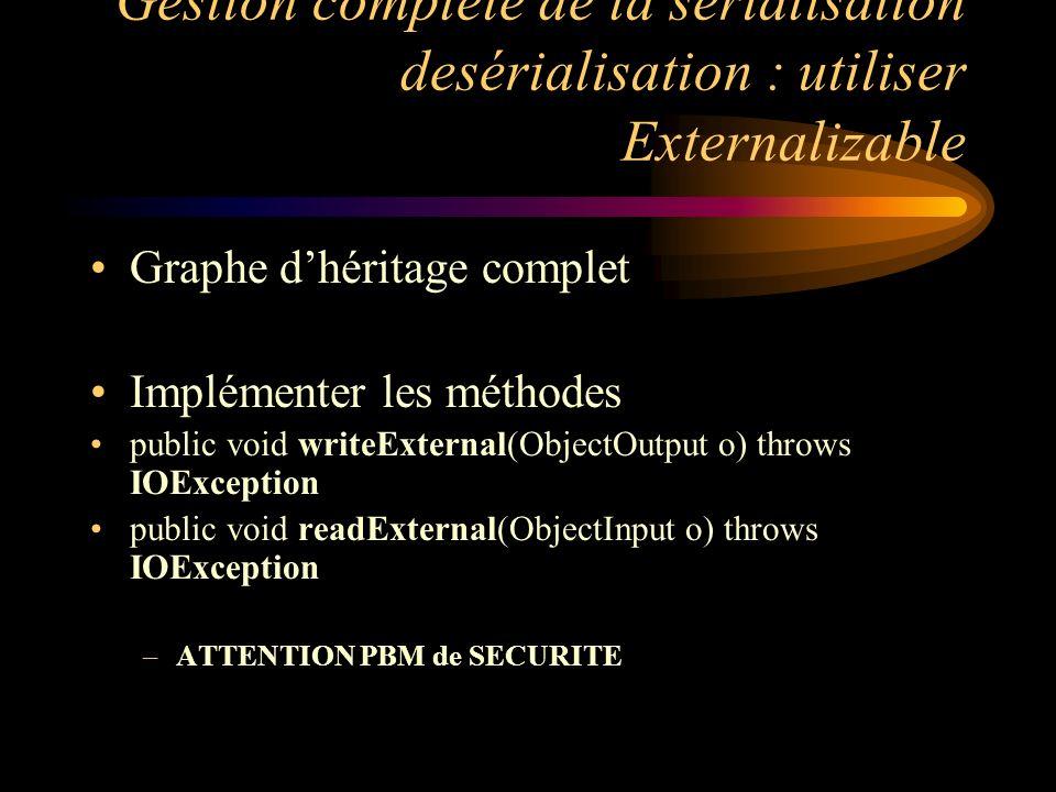 Gestion complète de la sérialisation desérialisation : utiliser Externalizable