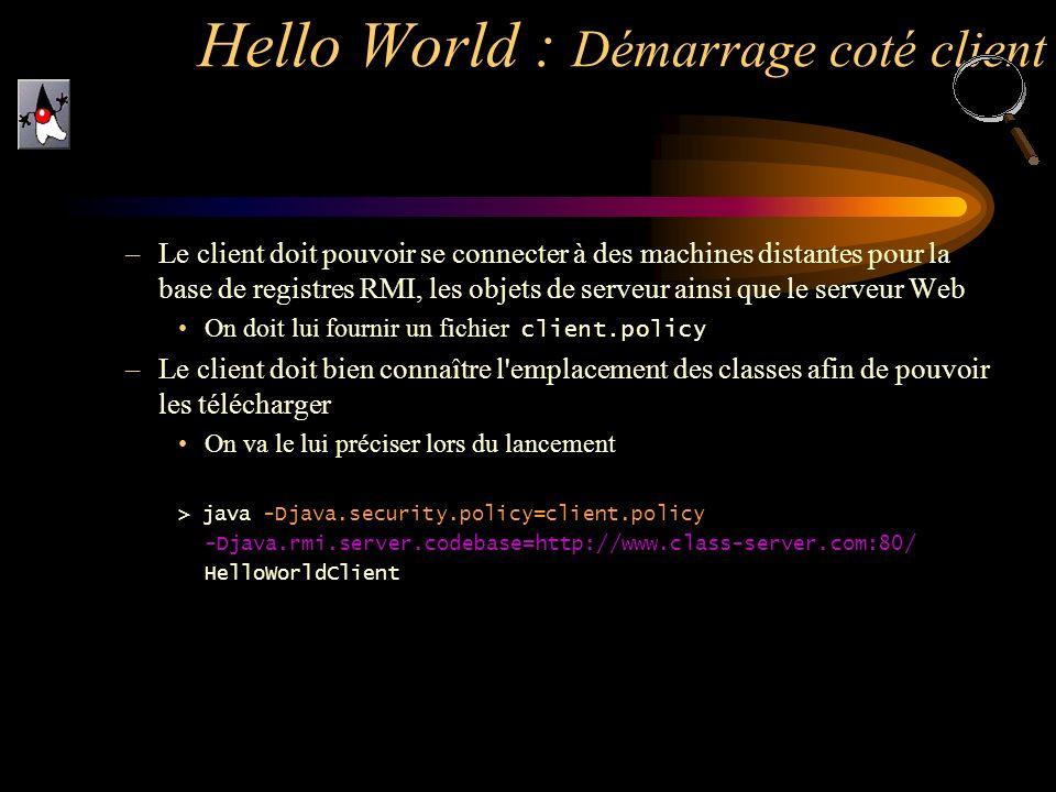 Hello World : Démarrage coté client