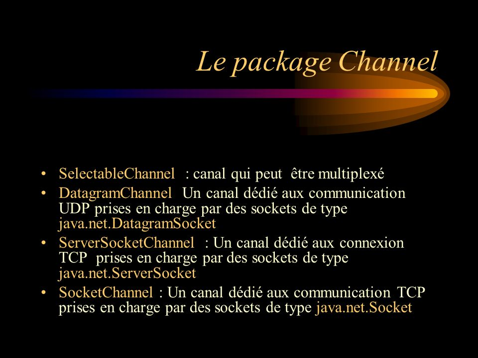 Le package Channel SelectableChannel : canal qui peut être multiplexé