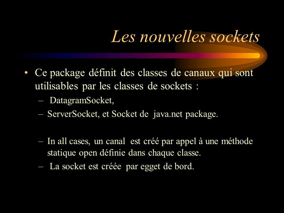 Les nouvelles sockets Ce package définit des classes de canaux qui sont utilisables par les classes de sockets :