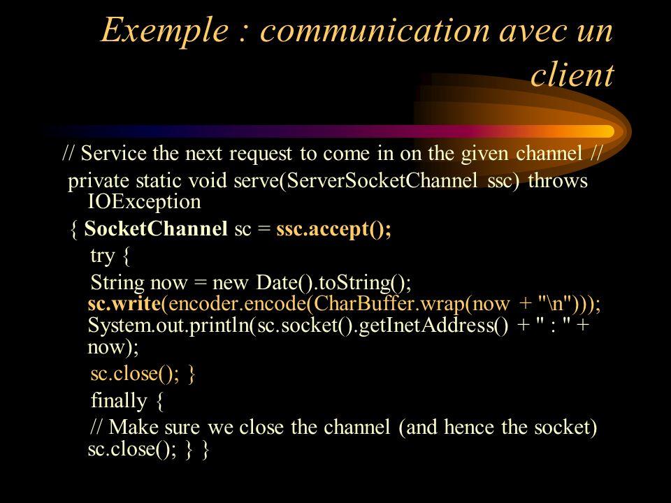Exemple : communication avec un client