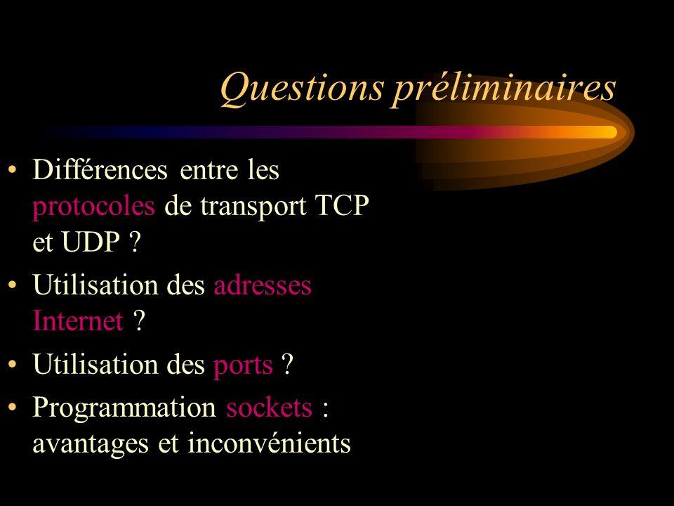 Questions préliminaires