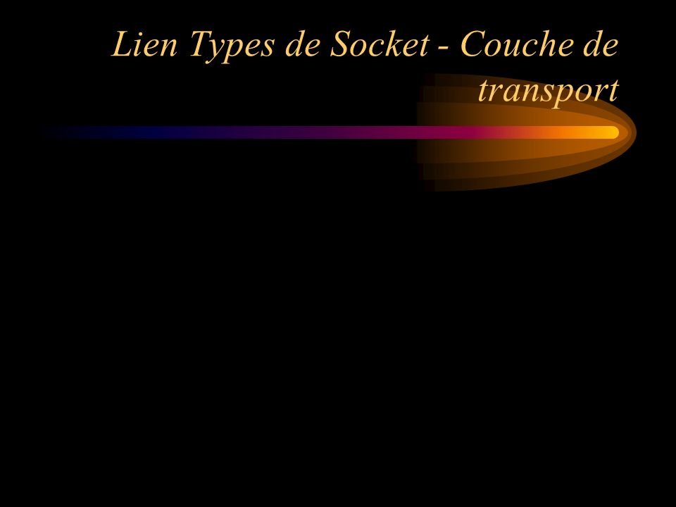 Lien Types de Socket - Couche de transport