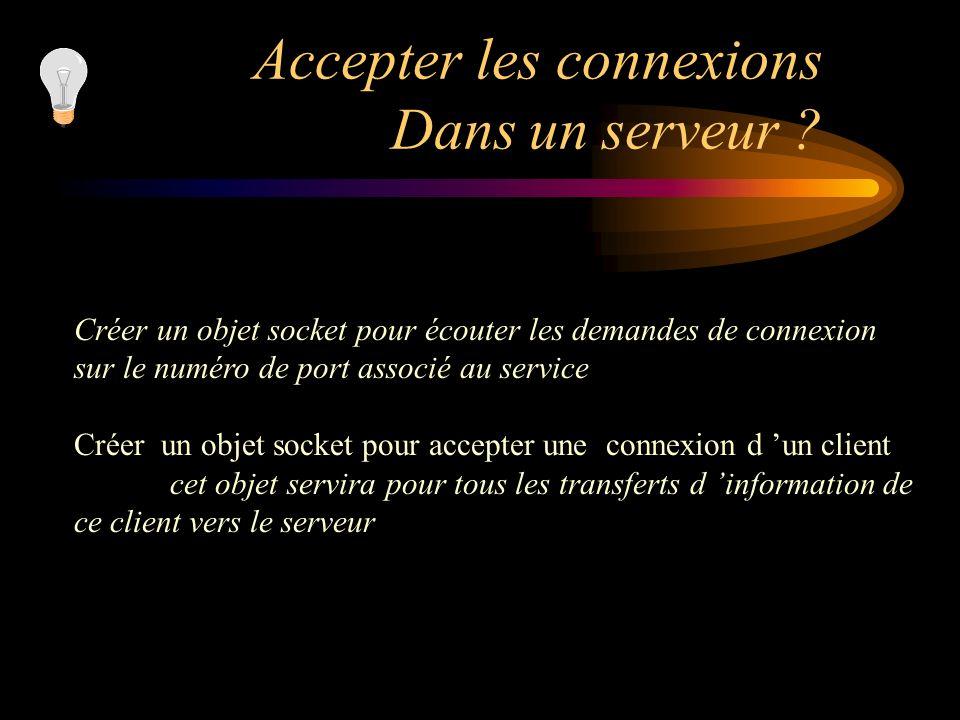 Accepter les connexions Dans un serveur