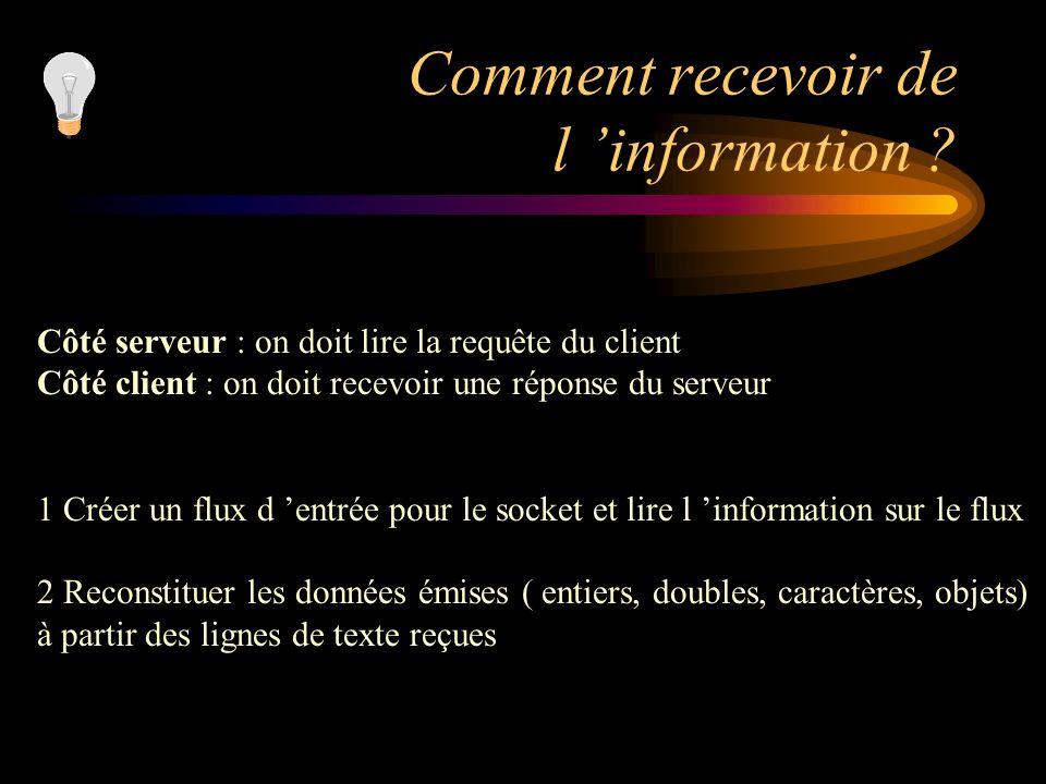 Comment recevoir de l 'information