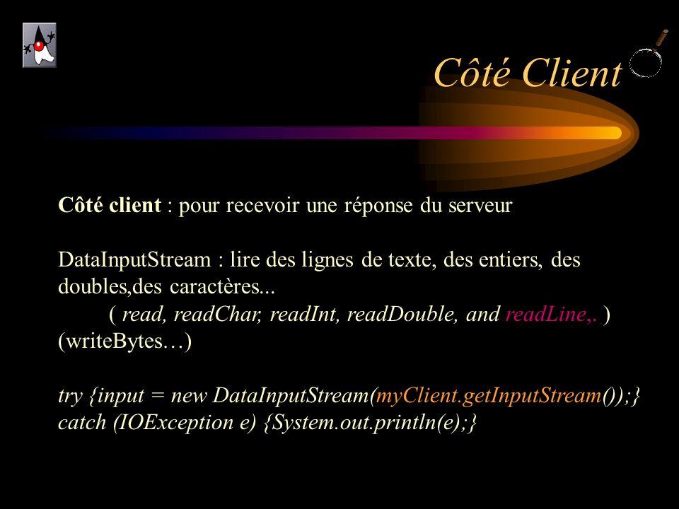 Côté Client Côté client : pour recevoir une réponse du serveur