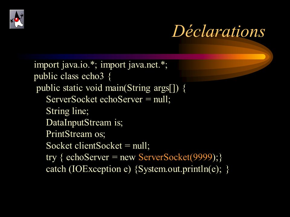 Déclarations import java.io.*; import java.net.*; public class echo3 {