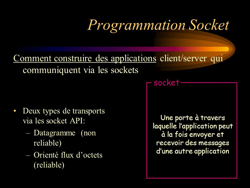 Programmation Socket Comment construire des applications client/server qui communiquent via les sockets.
