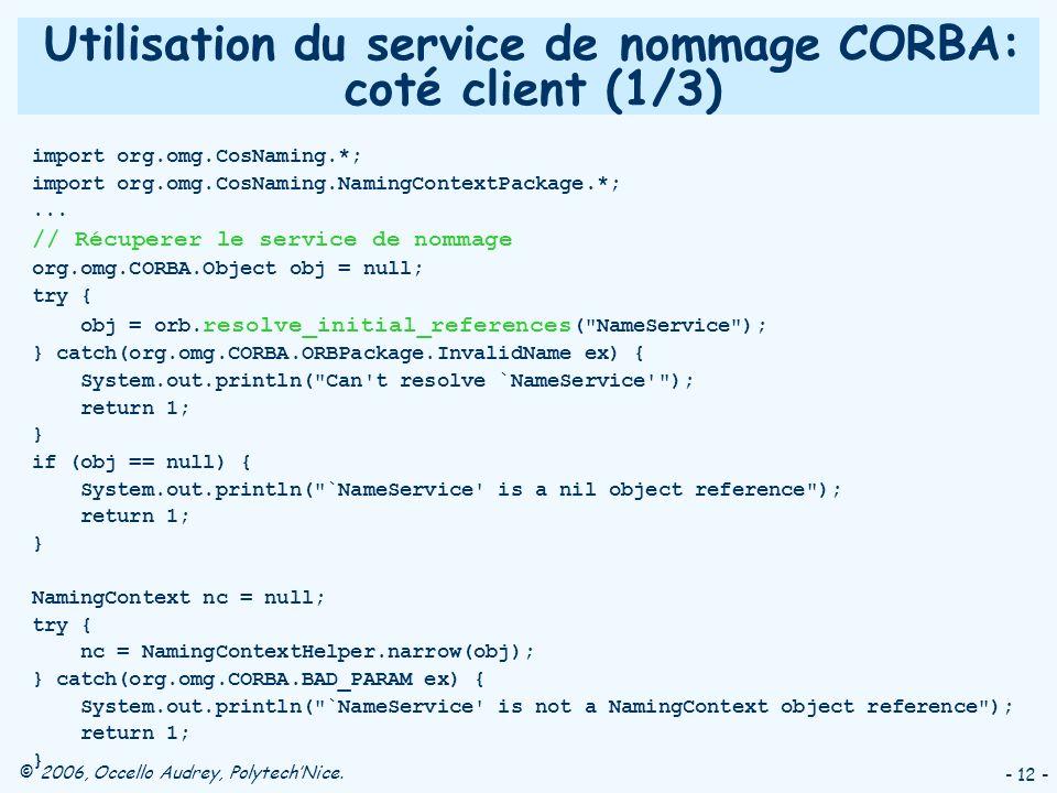 Utilisation du service de nommage CORBA: coté client (1/3)