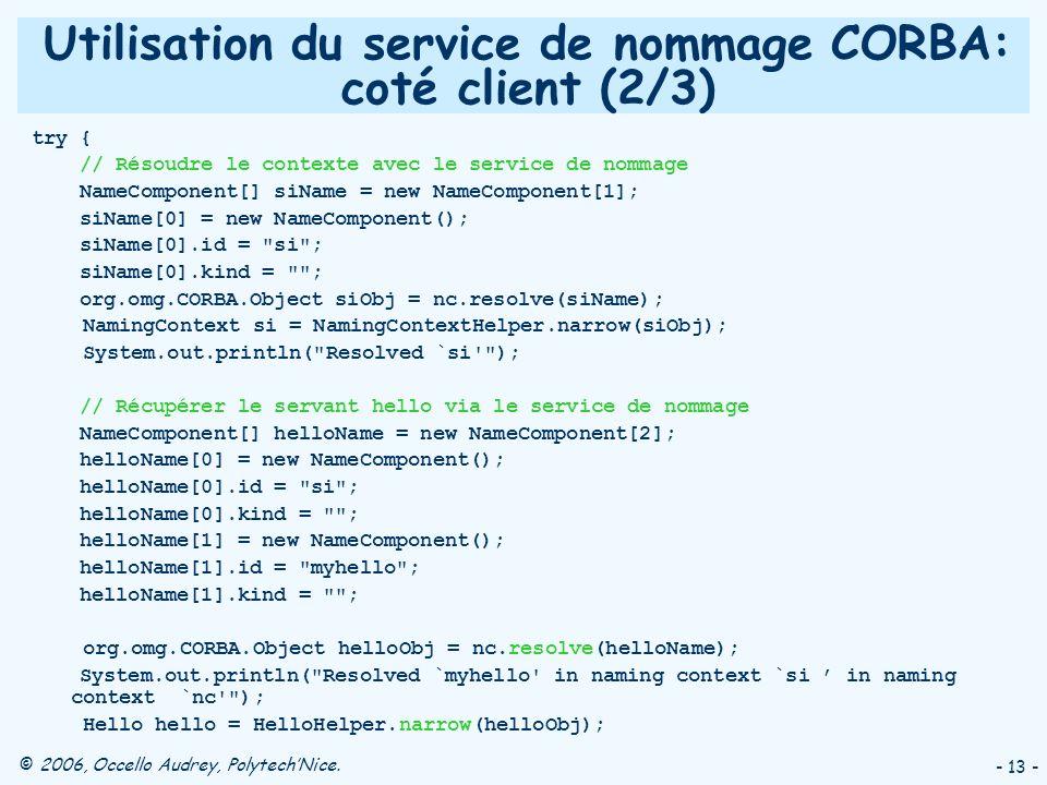 Utilisation du service de nommage CORBA: coté client (2/3)
