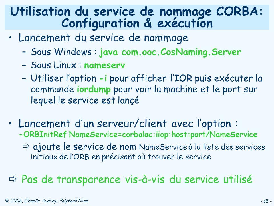 Utilisation du service de nommage CORBA: Configuration & exécution
