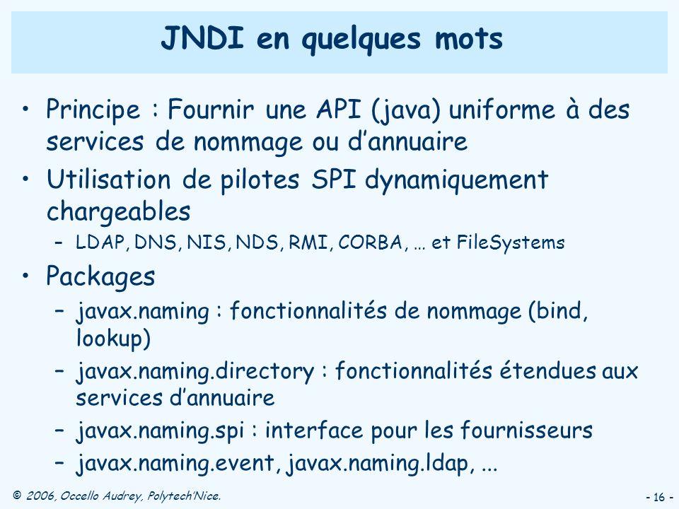 JNDI en quelques mots Principe : Fournir une API (java) uniforme à des services de nommage ou d'annuaire.
