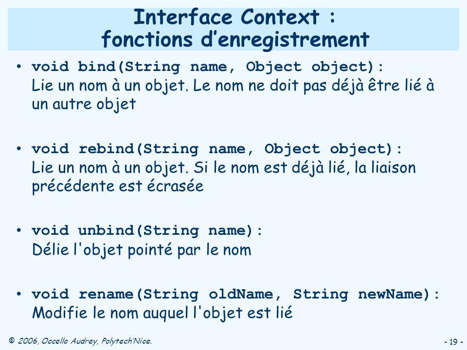 Interface Context : fonctions d'enregistrement