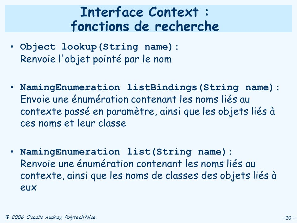Interface Context : fonctions de recherche