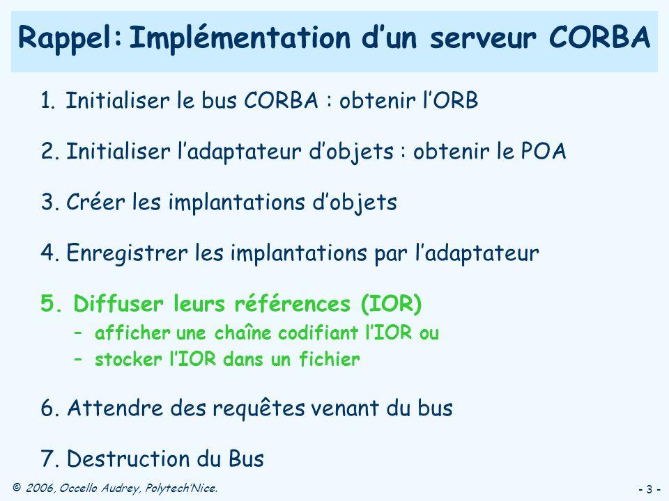 Rappel: Implémentation d'un serveur CORBA