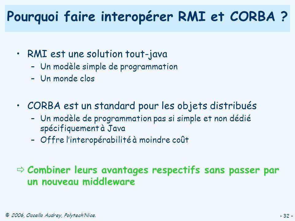 Pourquoi faire interopérer RMI et CORBA