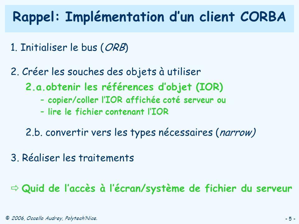 Rappel: Implémentation d'un client CORBA