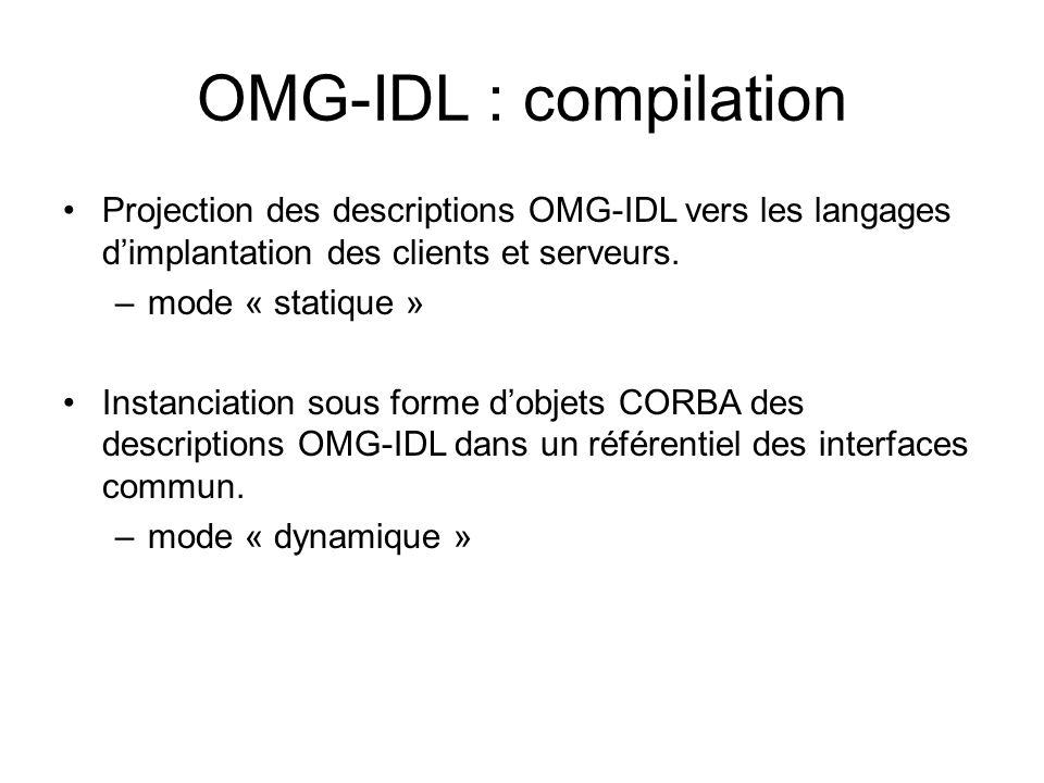 OMG-IDL : compilation Projection des descriptions OMG-IDL vers les langages d'implantation des clients et serveurs.