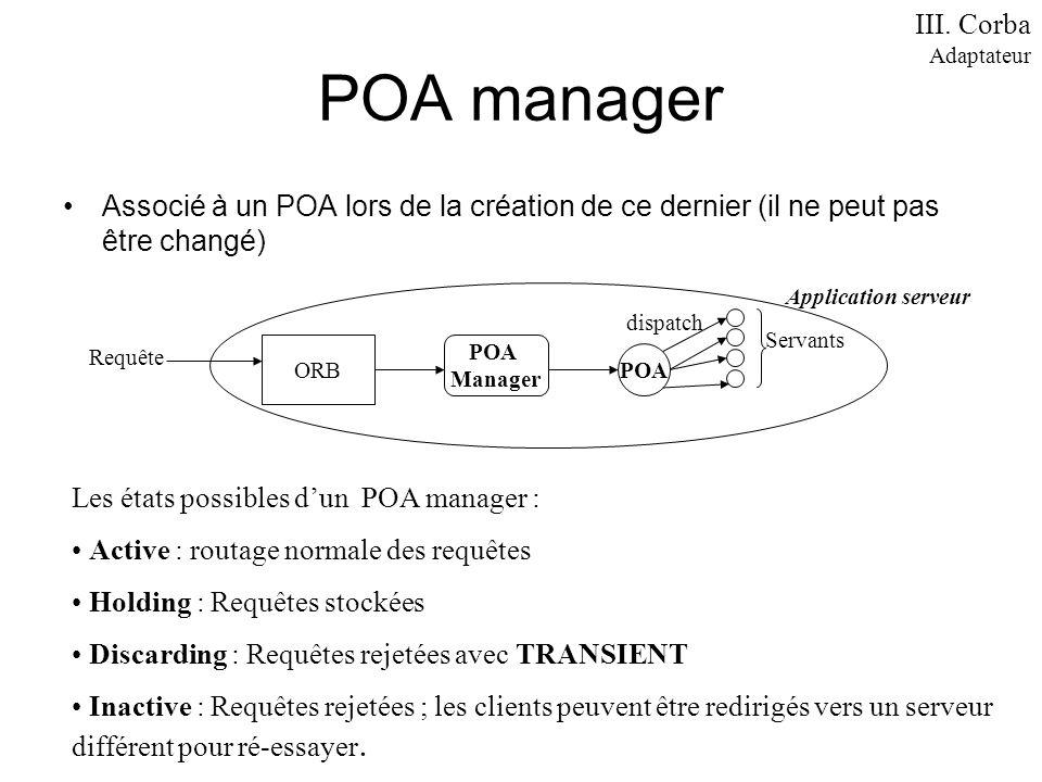 III. Corba Adaptateur. POA manager. Associé à un POA lors de la création de ce dernier (il ne peut pas être changé)
