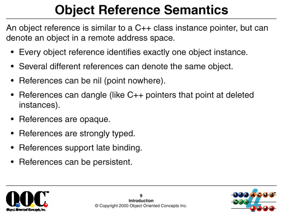 Object reference semantics