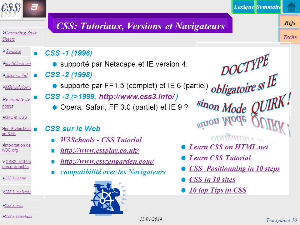 CSS: Tutoriaux, Versions et Navigateurs