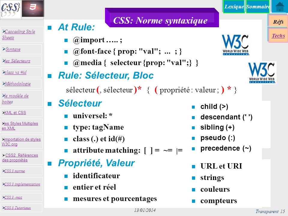 CSS: Norme syntaxique At Rule: Rule: Sélecteur, Bloc Sélecteur